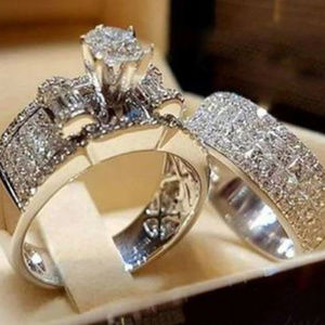 2 Pcs Set White AAA Cubic Zirconia Silver Rings
